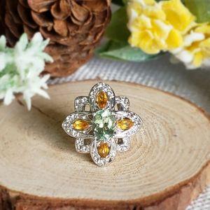 Green Apatite Citrine Sterling Silver Ring